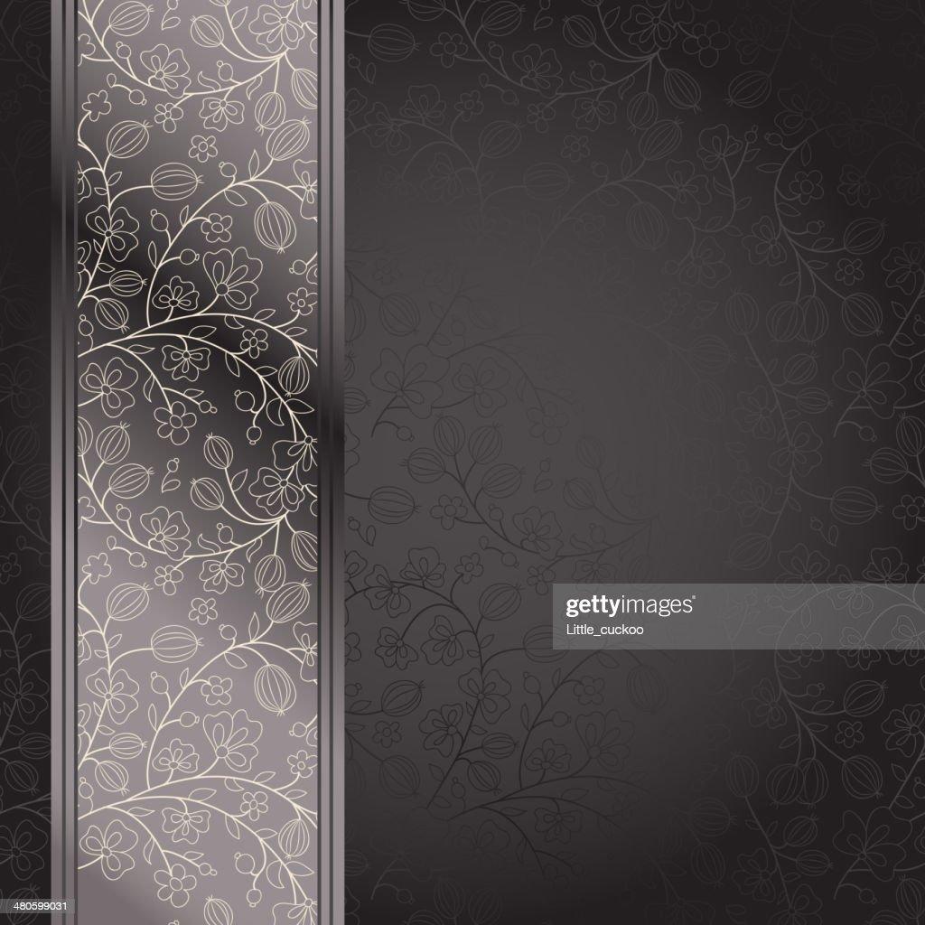 dark backdrop floral ornament with gooseberry : Vector Art