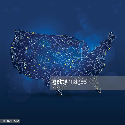 Dark Blue Usa Map With Dots And Connections Vector Art Getty Images - Cool us map with dots