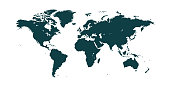 Dark blue World map isolated on white background. Best popular World map Vector globe template