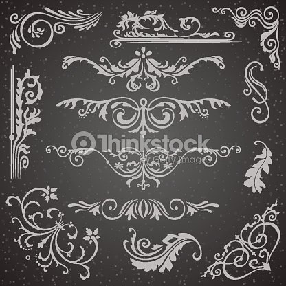 Dark flourish border corner and frame elements collection vector vector card invitation victorian grunge calligraphic wedding invitations set medieval ornament borders silhouette stopboris