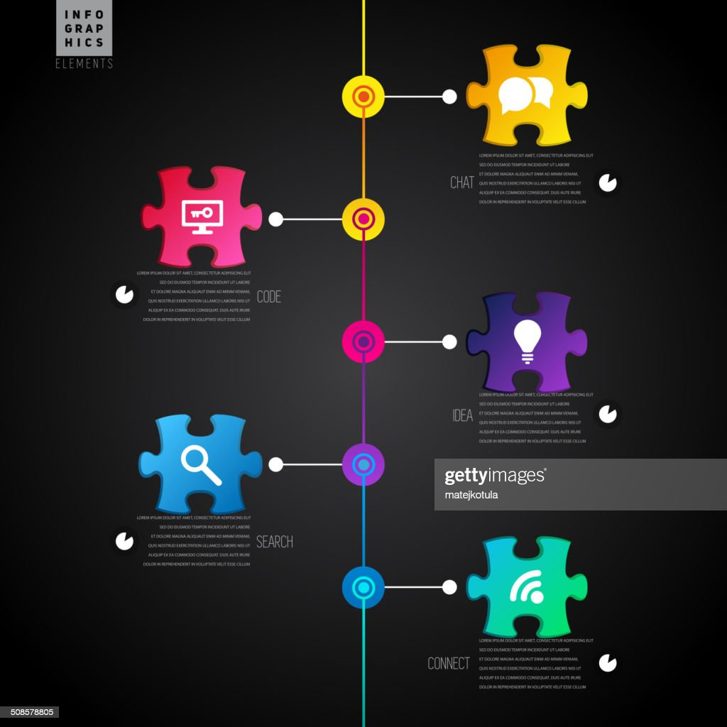 Dark Infographic template with puzzle, lines and icons - vector : Vector Art
