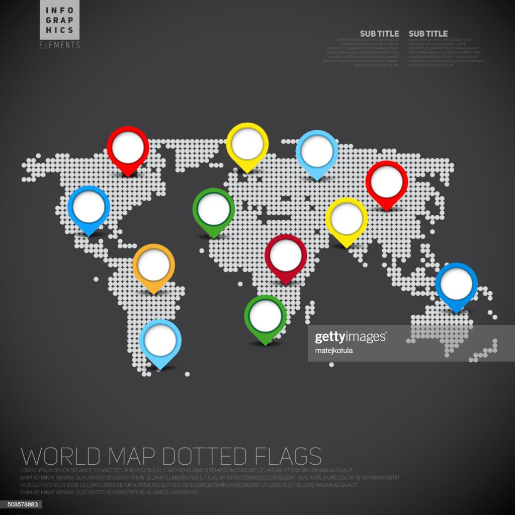 Dark Infographics World map from dots with pointer marks : Vector Art