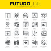 Unique thin line icons set of darknet deep web and hacker technology. Premium quality outline symbol collection. Modern linear pictogram pack of metaphors. Stroke vector  concept for web graphics.