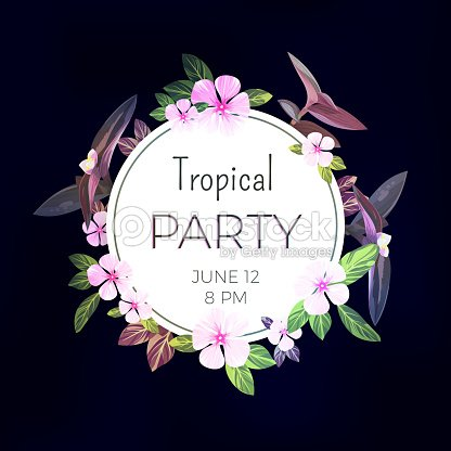 Dark vector tropical background with pink and purple flowers. Exotic summer party flyer design