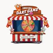 dart game dolls. carnival cart concept.