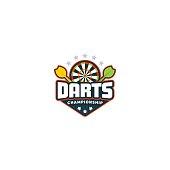 Darts. Sport badge Vector illustration