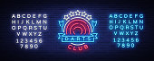 Darts Club   in Neon Style. Neon Sign, Bright Night Advertising, Light Banner. Vecton illustration. Editing text neon sign.