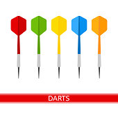 Vector illustration of colorful darts isolated on white background, in flat style.