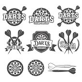 Set of vintage darts labels, logotypes, badges and vintage elements.