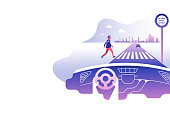 Dashboard car and driver.Hands driving a car on the highway. Drive safely warning billboard.Flat vector illustration. Car on asphalt road with speed limit on highway car interior. gradient background