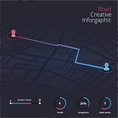 Dashboard theme creative infographic of city map navigation. GPS map navigation with pointers.