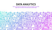 Data Analytics Concept. Vector Illustration of Line Website Design. Banner Template.