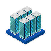 Data centre with server racks isometric 3D icon. Internet network equipment, cloud database sign, computer technology vector illustration.
