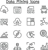Data mining Technology, Data Transfer, Data warehouse, Big data icon set in thin line style