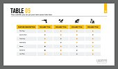 Editable template of presentation slide representing table with five columns and four icons