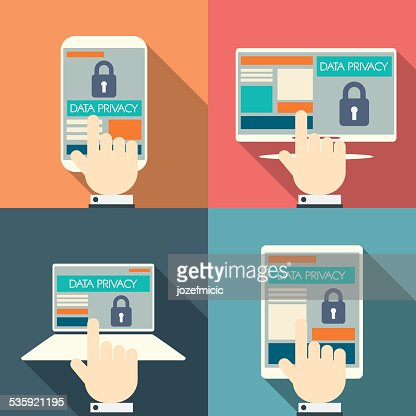 Data privacy in cloud computing technology with digital devices icons : Vector Art