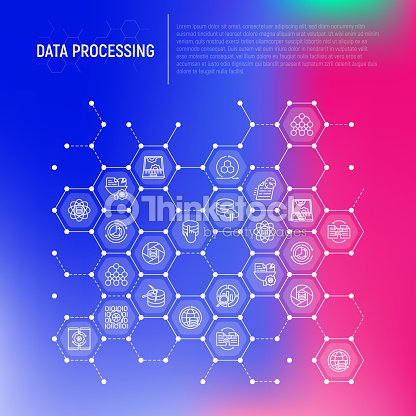 Data Processing Concept In Honeycombs With Thin Line Icons Data