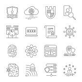 Data protection and cyber security thin line icons set. Cyber security, data and network protection. Protection technology, web services for business and internet safety.