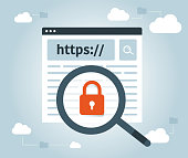 HTTPS Protocol - Safe and Secure Browsing. Data protection and internet security. Cloud web vector. SSL certificate for the site. Advantage TLS. Vector illustration.