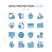 Data protection icons. Vector line icons set. Premium quality. Simple thin line design. Stroke, linear style. Modern outline symbols, pictograms