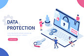 Data protection concept with character. Can use for web banner, infographics, hero images. Flat isometric vector illustration isolated on white background.