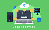 Data recovery, data backup, restoration and security flat design vector with icons. Vector illustration. Data protection concept web banner. Flat style. Internet security. For cloud services, encrypti