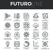 Modern thin line icons set of data science technology and machine learning process. Premium quality outline symbol collection. Simple mono linear pictogram pack. Stroke vector symbol concept for web g