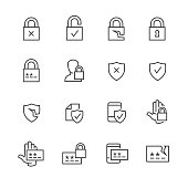 Vector set of computer data security and password icons