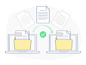 Data transfer, copying, uploading process, file sharing or sending documents from one laptop to another. Flat outline isolated vector illustration on white background. Modern trendy ui element design.