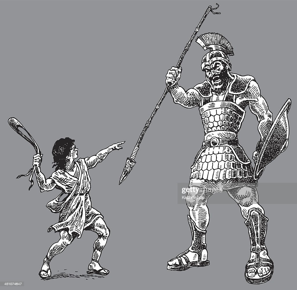 david and goliath bible story vector art getty images