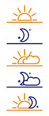 Times of day, morning, evening, night and round the clock vector icons with sun, moon, stars and clouds