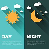 Sun, moon and stars. Day and night vector banners isolated