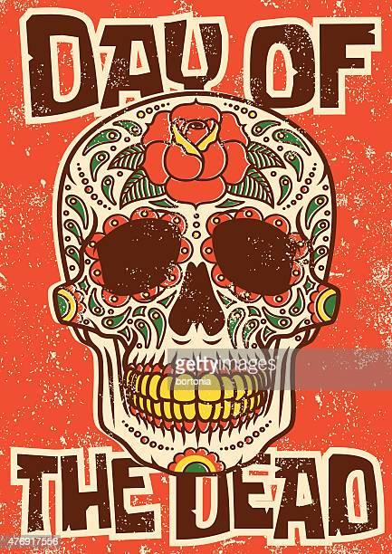 Día del azúcar cráneo muerto diseño serigrafiado para presentación