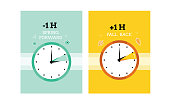 Daylight saving time. Clock. time. Fall back and spring forward. Cute vector cards.