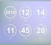 Days hours minutes seconds, icon of timer showing what time is left to beginning of certain event vector illustration isolated on grey.