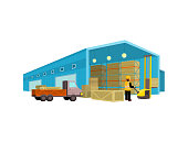 Equipment delivery process of the warehouse. Warehouse interior, logisti and factory building exterior, business delivery, storage cargo vector illustration. Workers in the warehouse with a cart