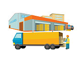 Equipment delivery process of the warehouse. Warehouse interior, logisti and factory, building warehouse exterior, business delivery, storage cargo vector illustration. Loader unloads the van
