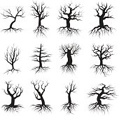 Dead tree set. Balck silhouette, large dry branches and roots, old forest, spooky wild wood. Vector flat style illustration isolated on white background
