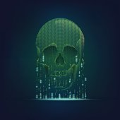 concept of computer virus, internet piracy and hacking, shape of skull combined with binary code