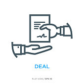 Two hands with doc as deal lsymbol. Simple line flat icon.