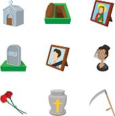 Death icons set. Cartoon illustration of 9 death vector icons for web