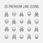 Death related vector icon set. Well-crafted sign in thin line style with editable stroke. Vector symbols isolated on a white background. Simple pictograms.