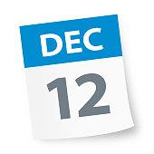 December 12 - Calendar Icon - Vector Illustration