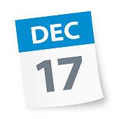 December 17 - Calendar Icon - Vector Illustration