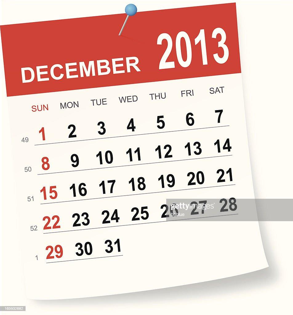 december 2013 calendar vector art