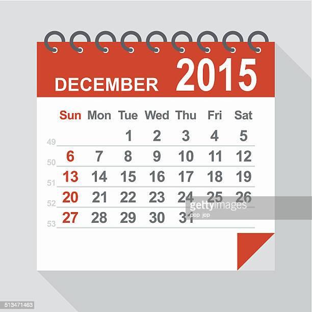 December 2015 calendar - Illustration