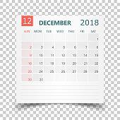 December 2018 calendar. Calendar sticker design template. Week starts on Sunday. Business vector illustration.