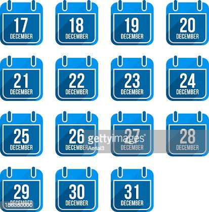 December calendar with long shadow. Days Of Year Set 5 : stock vector