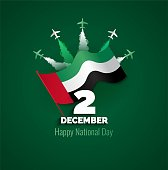 2 December. UAE Independence Day background in national flag color theme. Celebration banner  with 3d letters 2 December and flying airplanes. Vector illustration