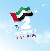 2 December. UAE Independence Day greeting card. Celebration background with  waving flag and blue sky. Vector illustration